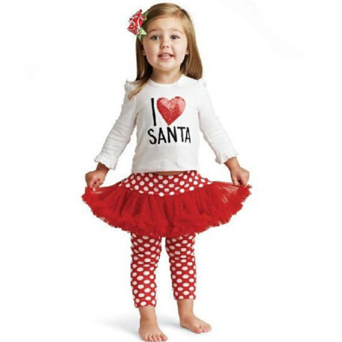 Baby Kids Girls Long Sleeve Tops Heart T shirt Polka Dot Lace Tutu Skirtpants Outfit 1 5Y 2019 in Clothing Sets from Mother Kids