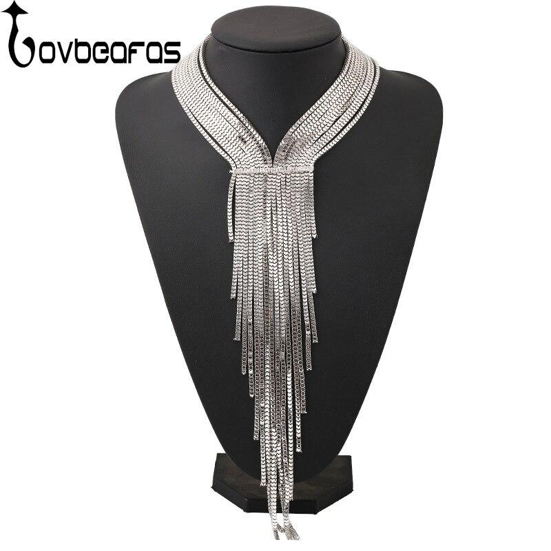 LOVBEAFAS Fashion Bohemian Statement Maxi Choker Necklace Collares Collier Necklace Rhinestone Chain Tassel Long Necklace Women rhinestone chain tassel design delicate necklace