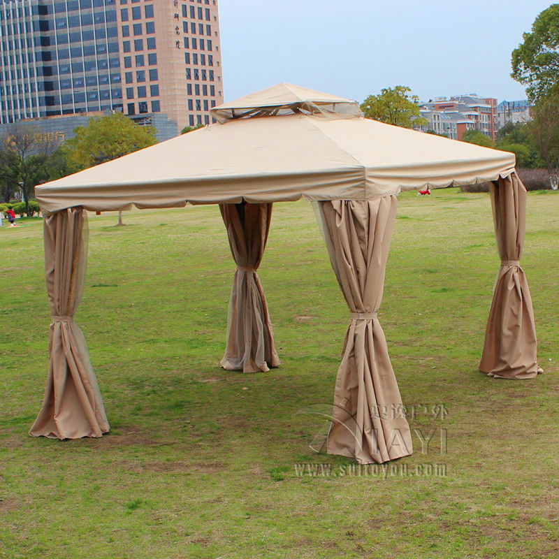 4*4 meter aluminum deluxe outdoor gazebo patio tent pavilion with sidewalls and gauze for garden decor 3 3 6 meter pc board high quality durable garden gazebo grace outdoor tent canopy fashion aluminum sun shade pavilion