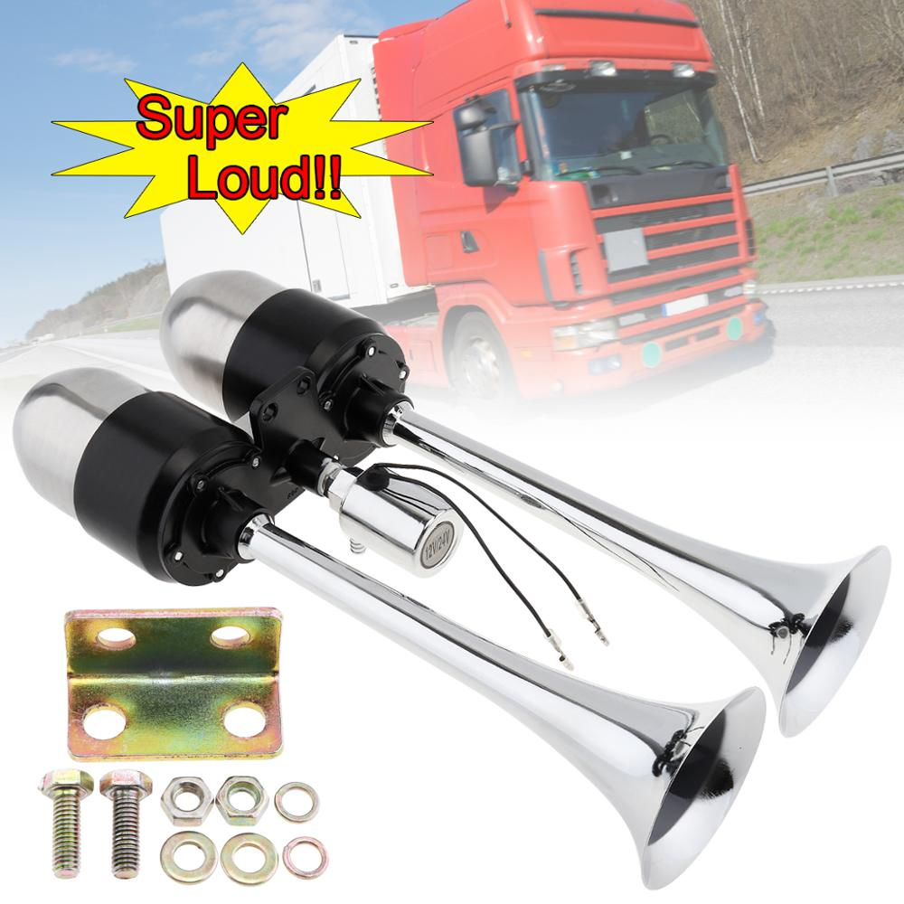 12V 24V 178DB Super Loud Dual Trumpet Electronically Controll Car Air Horn Extend Sound Effect with Air Outlet Valve Air Pump in Multi tone Claxon Horns from Automobiles Motorcycles