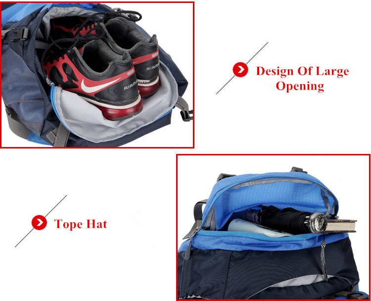 Waterproof 65L Tactical Unisex Backpack Shoe and Tope Hat Compartment