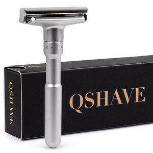 Image 2 - Qshave klasik güvenlik jilet ile % 100% saf porsuk saç tıraş fırçası için standı tutucu ile çift kenarlı tıraş bıçağı