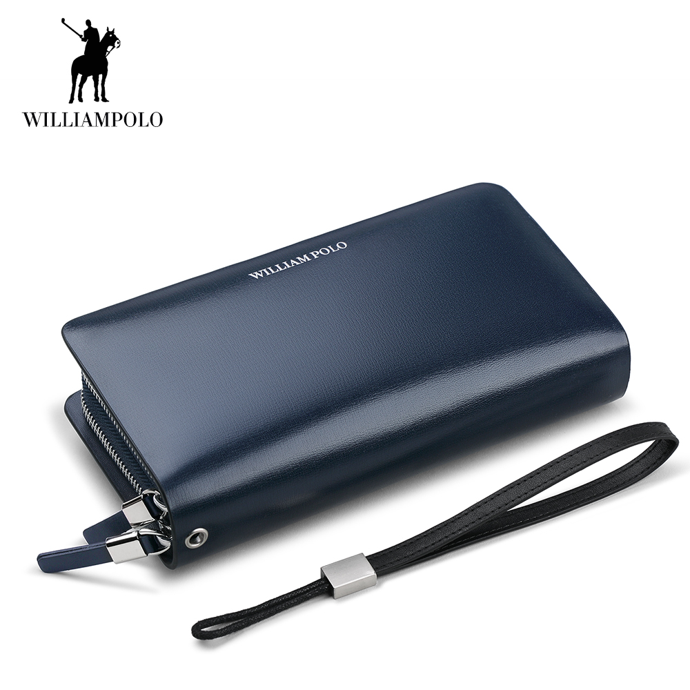 WilliamPOLO Men Wallet Long Clutch Genuine Leather Credit Card Holder Multi Card Case Coin Phone Purse Double Zipper Handbag 100