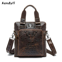 Genuine Leather Handbags Men S Shoulder Bag The Crocodile Grain Crossbody Bag Ipad Bag