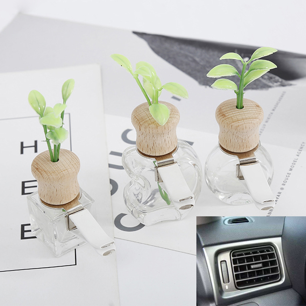 Car Perfume Clip Grass Smell Air Freshener Auto Outlet  Decoration Empty Bottle Vent Ornament Accessory Gift Without perfume