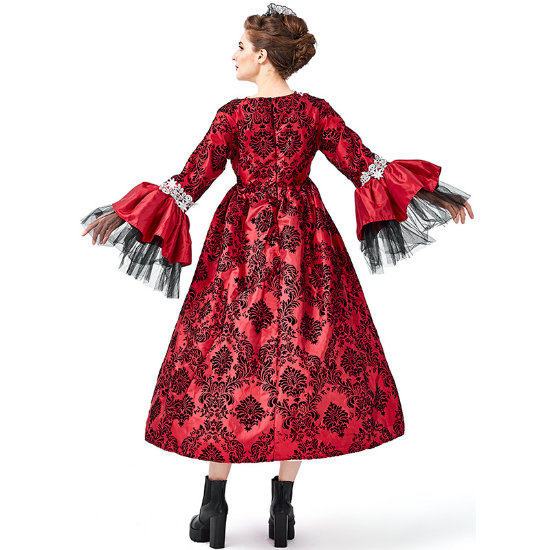 Renaissance Medieval Gothic Vampire Kostüme Cosplay Halloween Ball Modell Landebahn Kostüm Palace Kleid Hut Petticoat Vollen Satz - 4