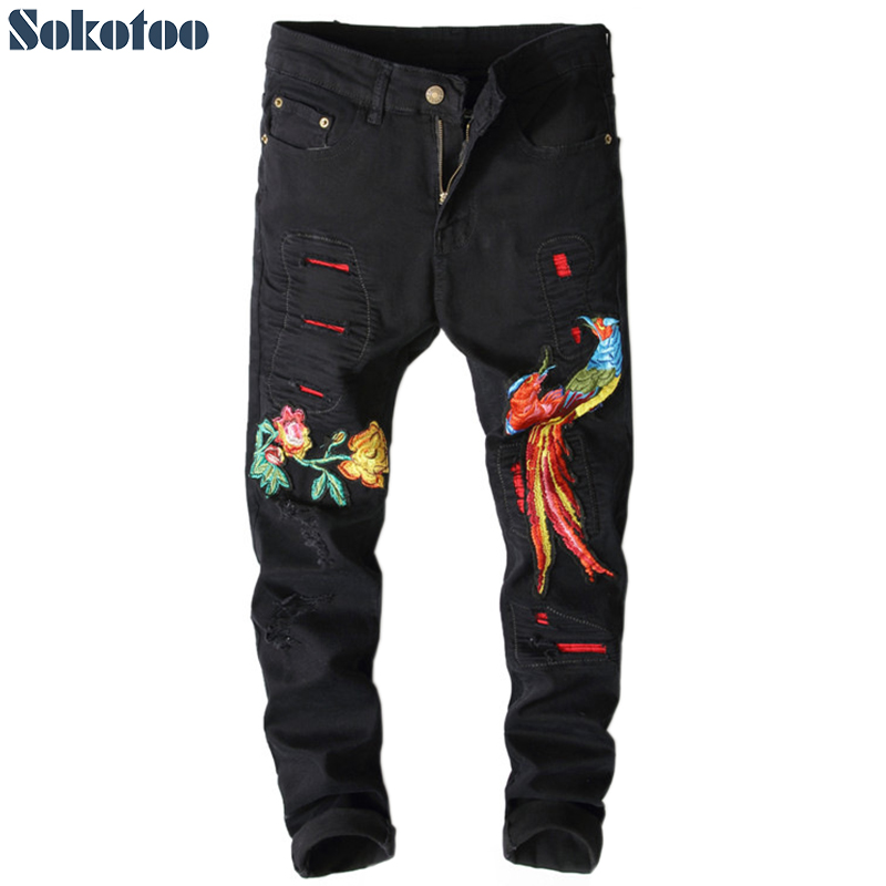 Sokotoo Men's Fashion Black Phoenix Flower Embroidery Jeans Hole Ripped Slim Skinny Denim Pants