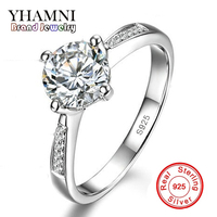 GALAXY Luxury 925 Sterling Silver Ring Women Jewelry With S925 Stamp 1 Carat Simulated Diamond Wedding