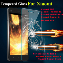 9H hardness premium Tempered Glass For Xiaomi Redmi 3 3S 2 Redmi Note 2 Note 3 Mi4 Mi5 Screen Protector Cover Toughened Film makibes toughened glass screen protector film for xiaomi redmi note 2