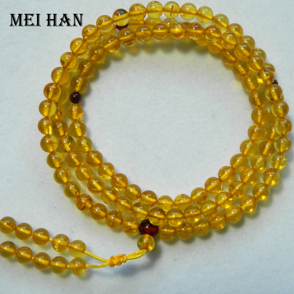 Meihan Free shipping 5 5 6mm 108 beads set 13g natural The Baltic sea Amber budda