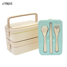 CTREE 1Pc Portable Lunch Boxes Tableware SetHealthy Wheat Straw Three layers Box Food Container Dinnerware Lunchbox Cutlery C813