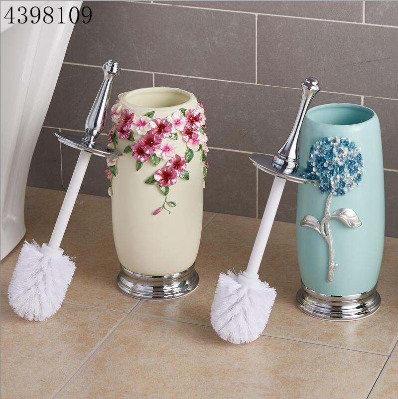 Bathroom cleaning brush and bracket set bathroom accessories resin stainless steel toilet brush kit wc brush