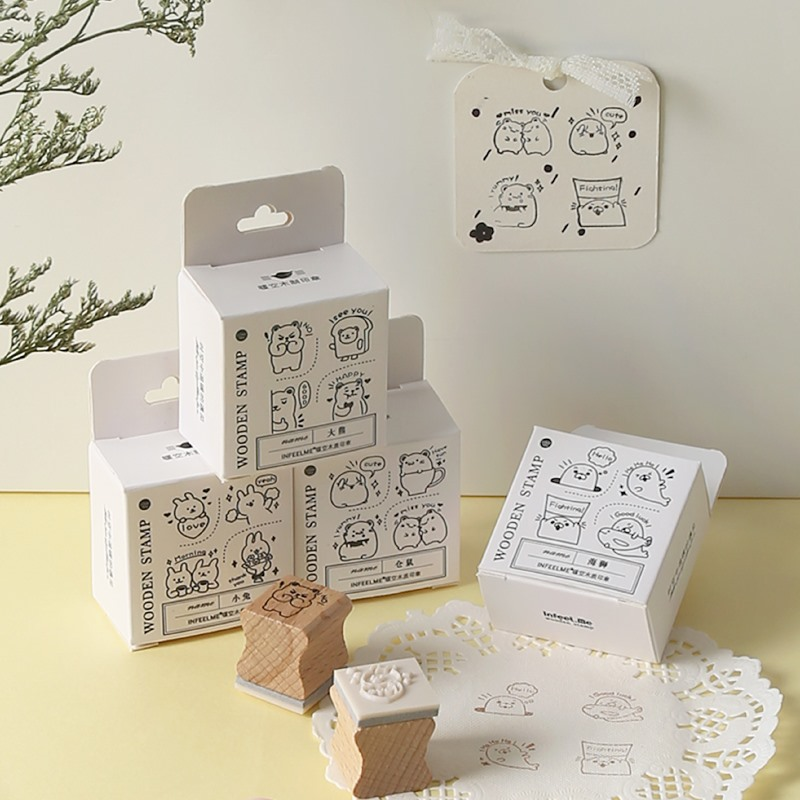 Kawaii Hamster Rabbit Decoration Stamp Set Wooden Rubber Stamps For Scrapbooking Stationery DIY Craft Standard Stamp