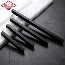 AOBT Kitchen Door Handles Black Cabinet Drawer Pens Aluminum 128mm 160mm Straight Handle Bathroom Knob Furniture