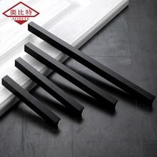 AOBT кухонные дверные ручки, черные ручки ящика для шкафа, алюминиевая прямая ручка 128 мм 160 мм, дверная ручка для ванной, мебельная фурнитура 226