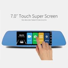 7 дюймов Сенсорный экран Видеорегистраторы для автомобилей Full HD 1080p Двойной объектив Камера Зеркало заднего вида видео Регистраторы регистраторы автомобильный камкордер