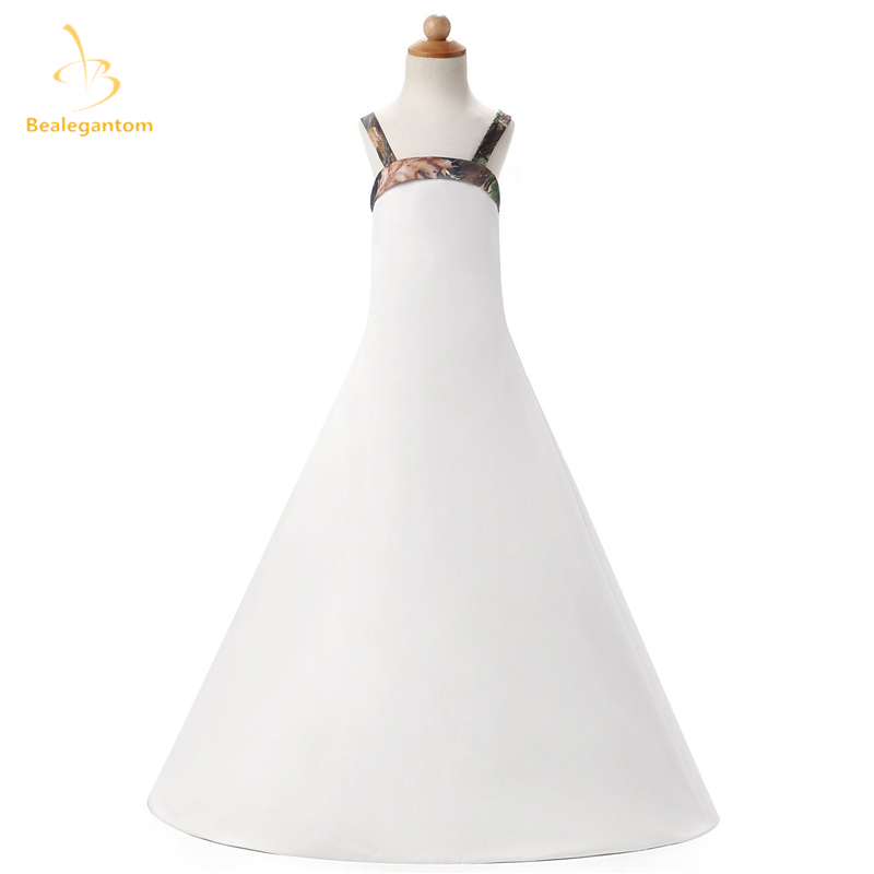 2019 New A-Line Camo   Flower     Girl     Dresses   with Bow Pleat Floor-Length   Girls   Pageant Gown First Communion   Dresses   QA30