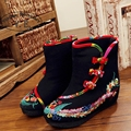 Vintage Embroidery Boots Winter Chinese Style Phoenix Embroidered Cloth Shoes Boots Size 35-41 Black Red 35-41