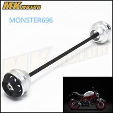 Free shipping for DUCATI MONSTER696 796 795 821 1000 CNC Aluminum Front & Rear Axle Fork Crash Sliders Wheel Protector Gold