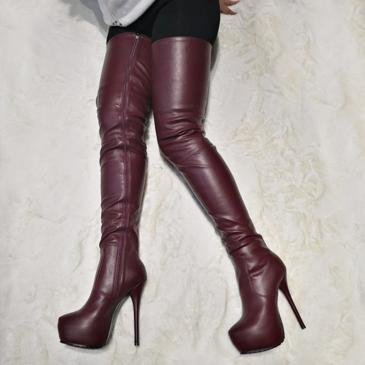 Details about  /Women Stiletto Heels Over Knee High Boots Platform Side Zip Shoes Fashion Wen47