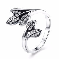 New Real 925 Sterling Silver Ring Fashion Branches Ring For Women Wedding Engagement Ring Jewelry Adjustable