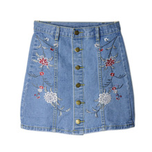 summer new Women sweet flower embroidery denim skirt vintage buttons faldas European style ladies fashion mini A-line skirts