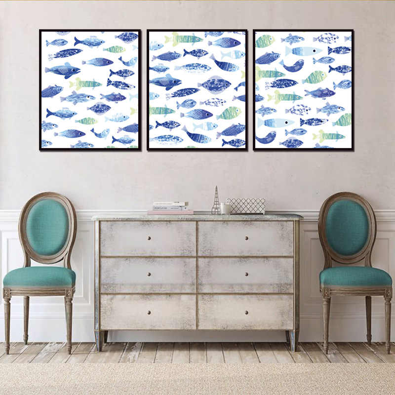 Top Fish poster 3pieces /set Canvas Wall Art Home Decoration Pictures For Living Room (No outside Frame only with inner Frame)