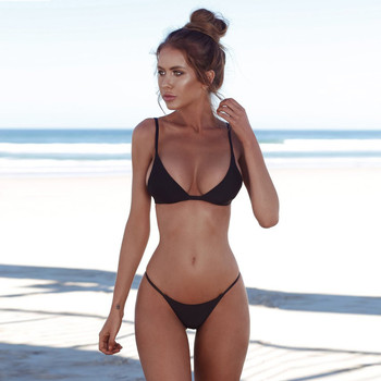 Swimwear Women Black Bikini 2020 Sexy Bikini Push Up Solid Bathing Suit Women Beachwear Swiming Suit Womens Bikinis 2019 Mujer