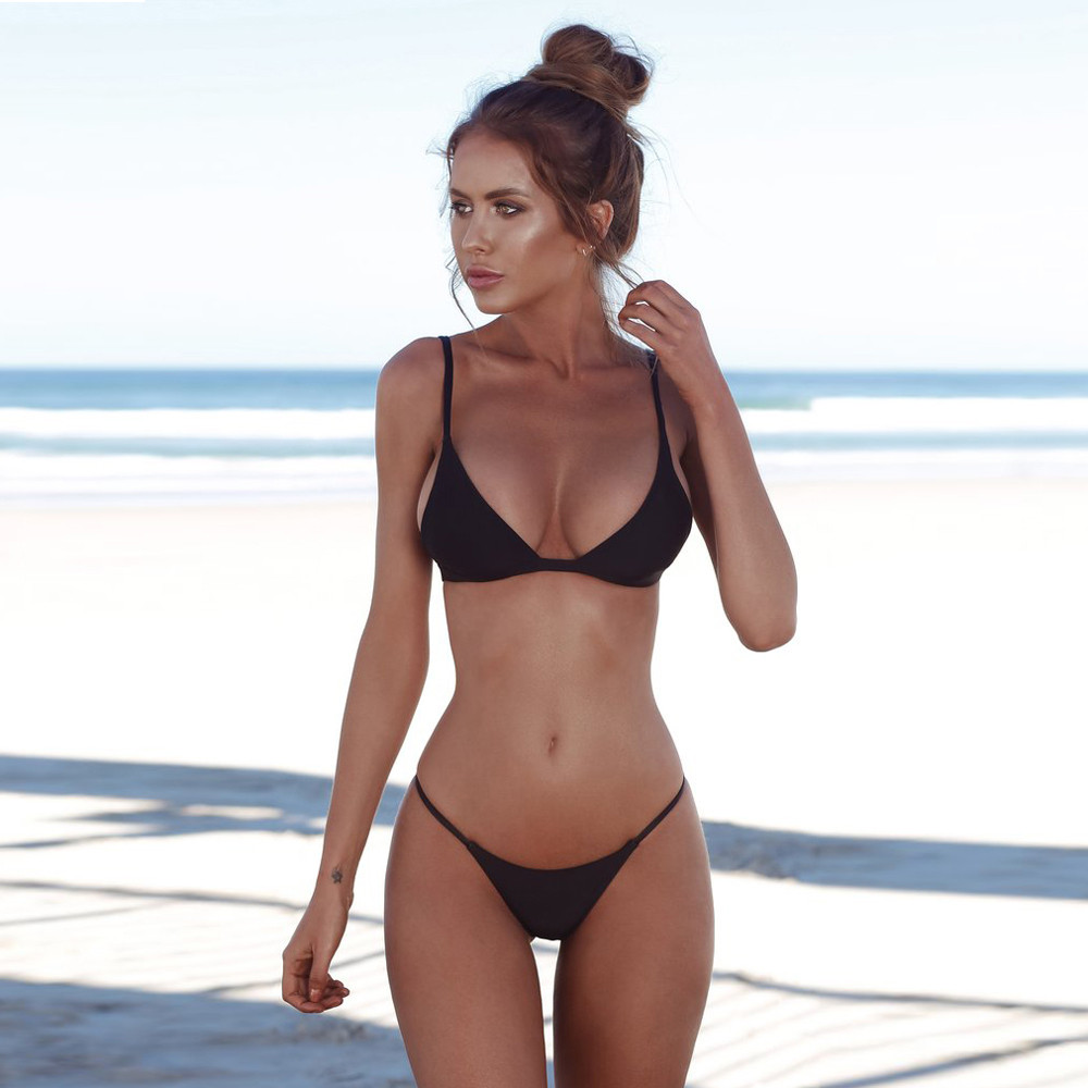 Black Bikini Bathing-Suit Beachwear Swimwear Women Push-Up Solid Mujer title=