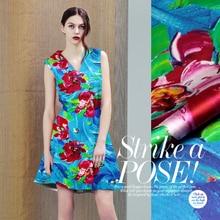 Digital print silk fabric elastic satin clothes material flower