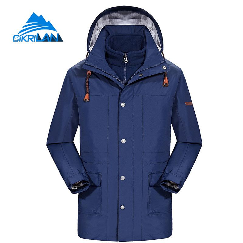 New Mens Long Winter Sport Hiking Camping Ski Snowboard Outdoor Coat Windbreaker Waterproof Jacket Men 3in1 Fleece Liner Casaco yin qi shi man winter outdoor shoes hiking camping trip high top hiking boots cow leather durable female plush warm outdoor boot