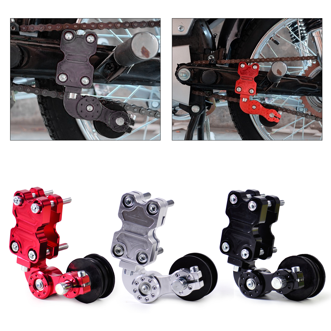 DWCX Motorcycle Adjustable Chain Tensioner Bolt on Roller Motocross for Harley Honda Dirt Street Bike ATV Banshee Suzuki Chopper universal motorcycle chain tensioner bolt on roller chopper atv dirt street bike for suzuki rg 125 vespa 150 vba t4 180ss all ye