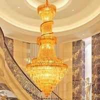 Ouro do Candelabro de Cristal de Luxo Luzes Lustre de Cristal Longo Ouro Foyer Stair Luminária Restaurante Do Hotel Clube Droplight 110 V 220 V