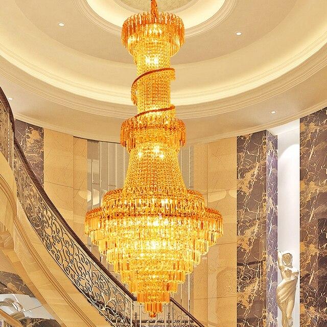 Gold Crystal Chandelier Luxury Long Gold Crystal Chandelier Lights Fixture Foyer Stair Hotel Restaurant Club Droplight 110V 220V