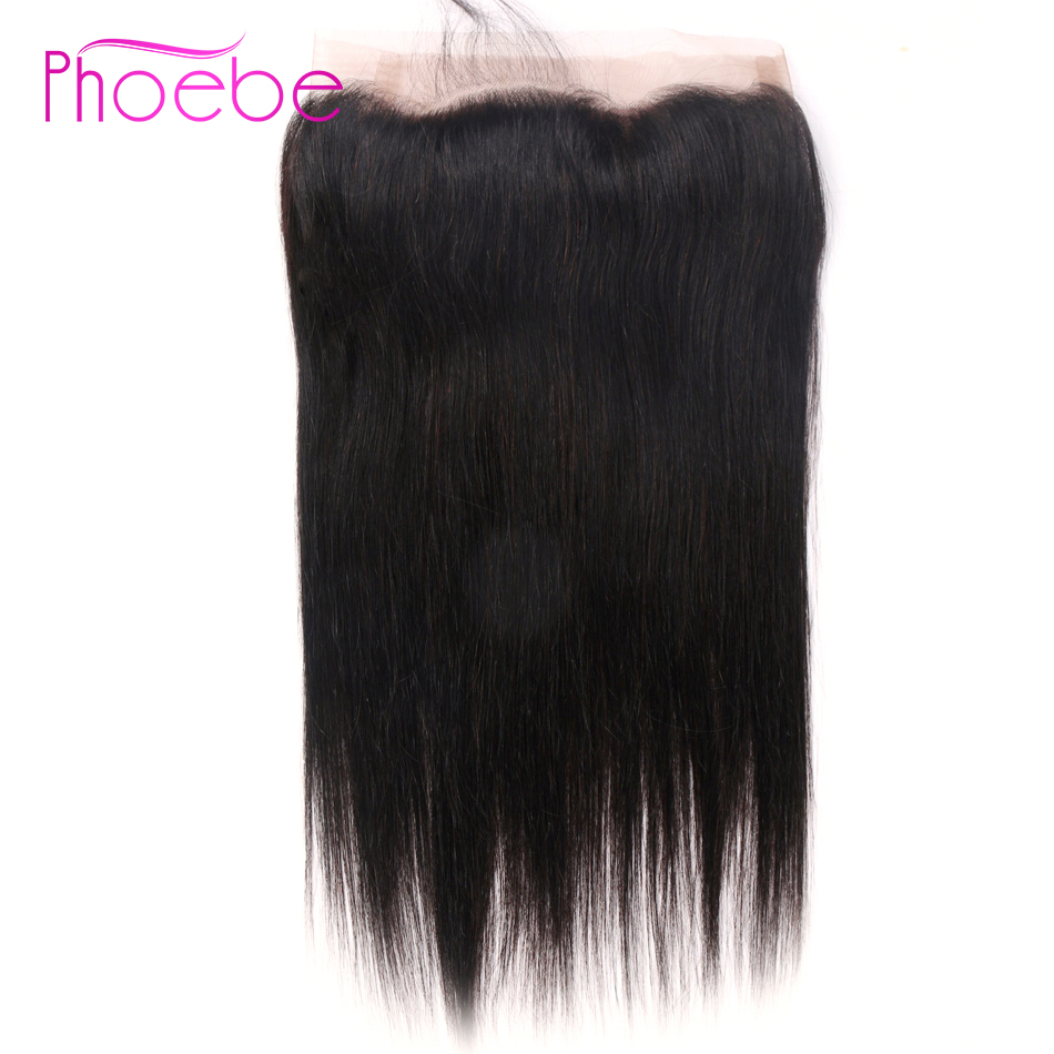 Phoebe Hair Pro-Colored Brazilian Straight Hair 360 Lace Frontal Closure With Baby Hair Lace Frontal Natural Color Non-Remy Hair