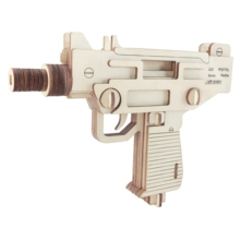 Laser Cutting 3D Wooden Puzzle Jigsaw Military Weapon Gun Uzi Pistol DIYAssembly Kids Educational Toys For Children Boys
