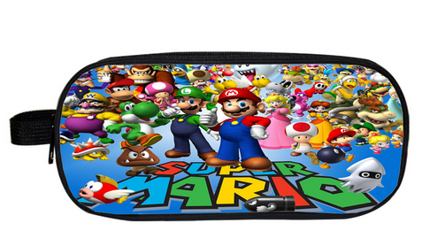 Super Mario Bros Pencil Holder Sonic Pokemon Children School Case Bag Kids Cartoon Bag Boys Girls Purse Wallet Gifts super mario bros plush green shell backpack bag purse cosplay super funny and cool rare