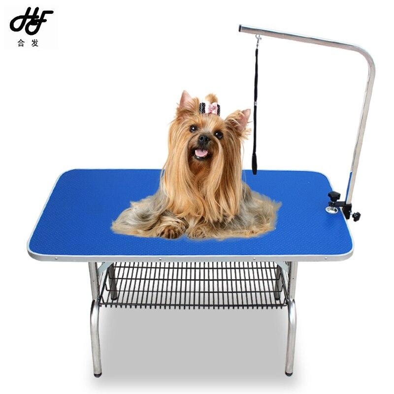Дешевый складной стол для ухода за домашними животными из нержавеющей стали для маленьких питомцев, портативный Рабочий стол, резиновая поверхность, стол для ванной, голубой, розовый - 2
