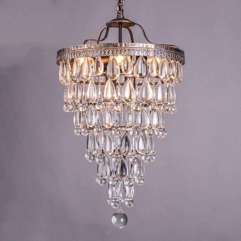 купить Chandelier Lighting Ceiling Antique Style Crystal Raindrop Retro Modern Light Fixtures Drops Chandeliers Lamp недорого