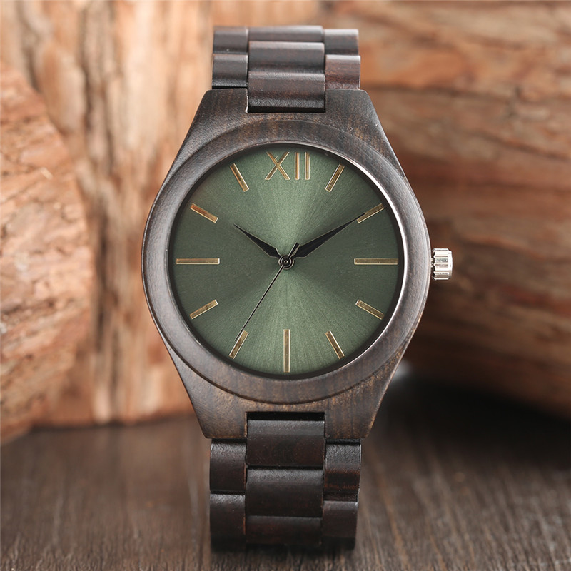 Natur Ebony Wood Watch Män Light Green Face Creative Klockor Quartz - Herrklockor