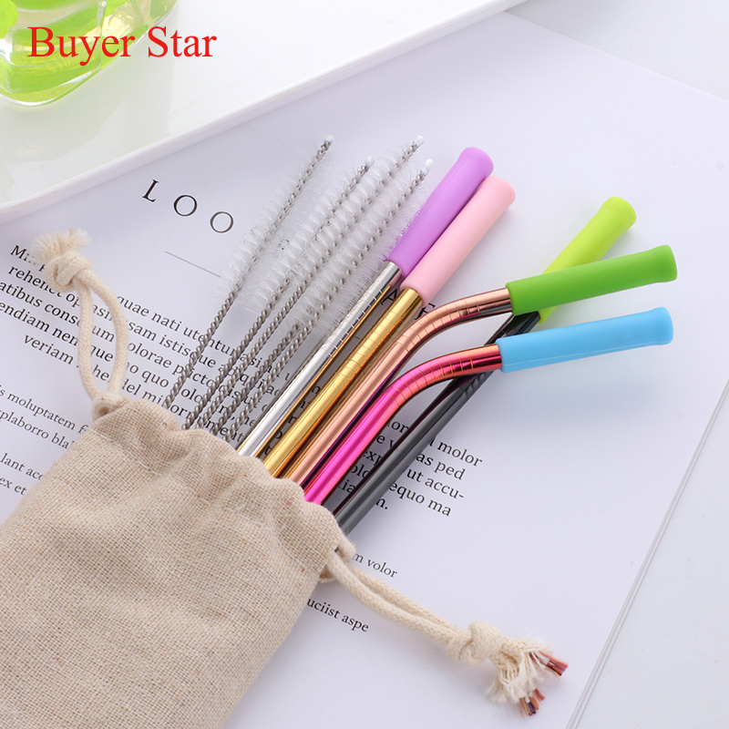 New Stainless Steel Colorful Straight&Bend Drinking Straw With Silicone Tips And Cleaner Brush Kitchen Bar AccessoriesNew Stainless Steel Colorful Straight&Bend Drinking Straw With Silicone Tips And Cleaner Brush Kitchen Bar Accessories