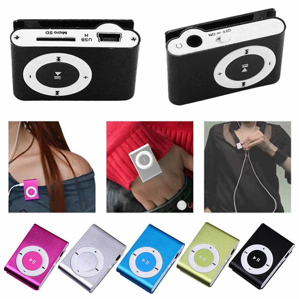 FGHGF cheapest USB metal mini Clip mp3 Player sport portable Music digital TF/SD Card Slot player mp 3 player card running