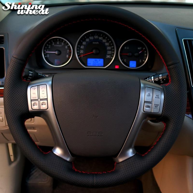 Shining wheat Black Leather Car Steering Wheel Cover for Hyundai Vera Cruz IX 55 Veracruz america veracruz