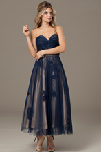 Elegant Ankle Length V-neck Tulle Evening Formal Dress 2015 New Arrival Long Prom Gown With Appliques Off The Shoulder F1838
