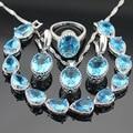 Conjuntos de Jóias de Cor prata Para As Mulheres Luz Azul Criado Topázio Colar Pingente Pulseiras Brincos Anéis de Natal Caixa de Presente Livre