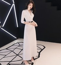 Elegant White V-neck Ankle Length Mother Dresses with Sash For Wedding Party 2019 Evening Prom Gowns vestiods de noiva