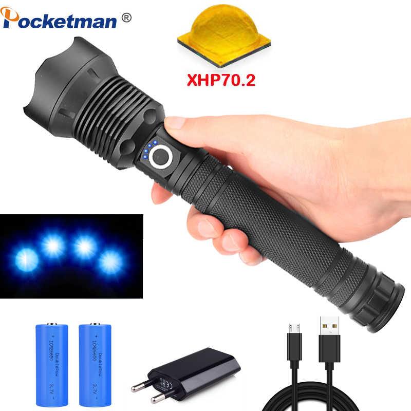95000 Lumens Đèn XHP70.2 mạnh nhất Đèn pin USB Zoom Đèn pin Led XHP70 XHP50 18650 hoặc 26650 pin Tốt Nhất Cắm Trại, ngoài trời