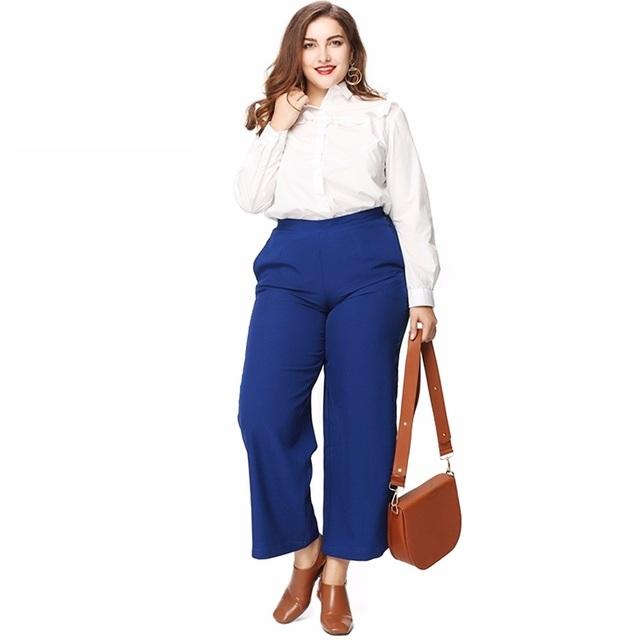 Calças Mulheres Moda Casual Azul Soild Estilo OL Solto Ampla Calças perna Calças Tamanho Maxi Plus Size 3XL 4XL 5XL 6XL
