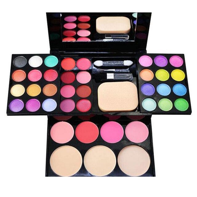 3 Capas Pro 39 colores de Sombra de Ojos brillo de labios maquillaje paleta de Sombra de Ojos Shimmer cosméticos Kit de Maquillaje Colorete Powder brush conjunto