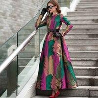 Plus Size 2018 Good Quality Spring Women Boho Long Sleeves Fashion Dress Floral Jacquard New Autumn Winter Long Maxi Dress